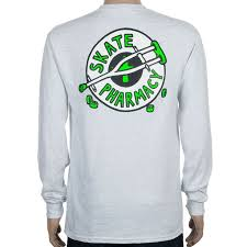 skate pharmacy crutch long sleeve back print t shirt grey