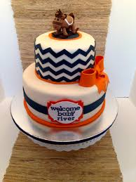 rocking horse cake with chevron in blue and orange rocking horse