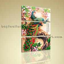 vertical feng shui wall art on canvas peacock painting prints