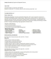Babysitter Resume Samples by Babysitter Resume 8 Free Word Pdf Documents Download Free