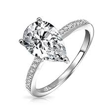 pear engagement ring bling jewelry 925 silver 2 25ct pear solitaire cz