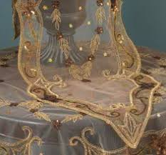 Beaded Table Linens - art nouveau table runner coffee glass and beads