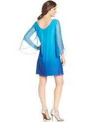 tahari ombre split sleeve shift dress in blue lyst