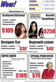 current promotion flyer wow hairdresser taigum and strathpine