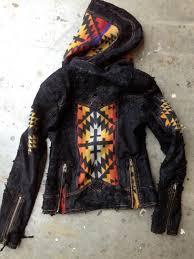 Native American Inspired Clothing Pendleton Indian Blanket And Leather Hoodie Moto By Kiyoteofbigsur