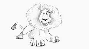 how to draw a lion alex from madagascar как нарисовать льва