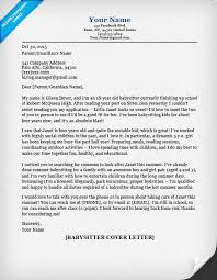 Cover Resume Letter Sample by Babysitter Cover Letter Sample U0026 Tips Resume Companion