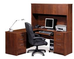 L Shaped Office Table Dark Brown L Shaped High Gloss Finish Wooden Office Table
