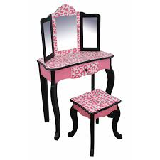 table foxy teamson kids fashion prints vanity table and stool set