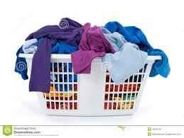 clothes in laundry basket blue indigo purple stock photo