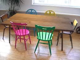 225 Best Pizzazz Home Decor Most Popular Images On Pinterest by Wooden Table And Colorful Chairs For Dining Rooms Buscar Con