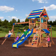 Swing Set For Backyard by Backyard Discovery Beach Front Wooden Cedar Swing Set Walmart Com