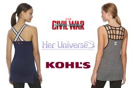 sneak peak her universe u0026 kohl u0027s marvel civil war activewear