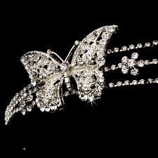 silver headband rhodium silver butterfly headband headpiece bridal hair