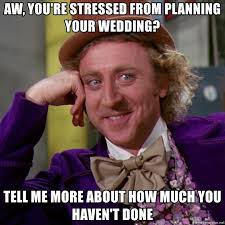 Planning A Wedding Meme - aw you re stressed from planning your wedding tell me more about