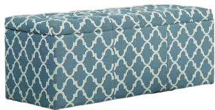 Printed Storage Ottoman Living Room Quatrefoil Printed Fabric With Button Tufted Storage