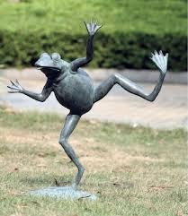 brass frog water spitter pond garden statue 23 h