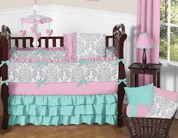 nursery beddings pink and gray baby bedding sets together