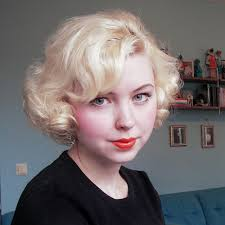 old fashioned short hair short curled hair retro but loving it in red for this winter and