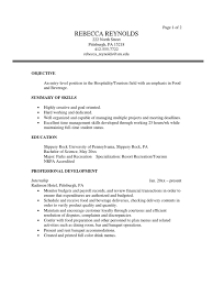 Objective With Summary Of Skills by Tourism Sample Resume Menu Restaurants