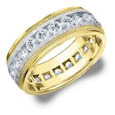 two tone mens wedding bands 3 cttw diamond men s wedding band in 14k two tone gold 3 carat