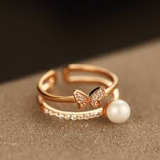 gold plated chain bow pearl ring delicate brand