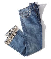 Denim Blue Brock Collection Silver Embellished Jean Denim Blue Mid Rise Fit