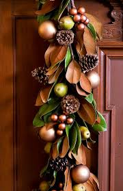 Traditional Home Christmas Decorating Ideas by Magnolia Leaves Pears And Pinecones Make A Beautifully Masculine