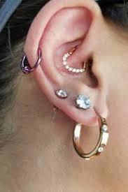 earring helix daith heart earring right ear helix piercing 16g gold cz paved ge