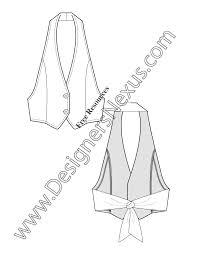v21 tieback halter vest flat fashion sketch template designers nexus