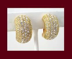 golden earrings christian rhinestone golden earrings