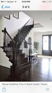 Staining Banister Love The Dark Wood Floors Stairs And Railing With All The White
