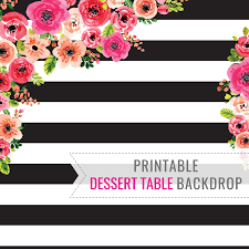 black and white stripe printable backdrop only birthday