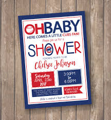 chicago cubs baseball baby shower invitation cubs birthday