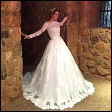 modest lace wedding dresses long sleeves bateau women church
