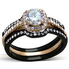 black wedding ring set his hers 4 pc black gold stainless steel