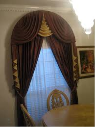 brown cream vertical stripped curtains for large glass windows on
