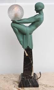 Sculpture Table Lamps Art Deco Figural Female Sculpture Table Lamp Titled