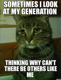 Thinking Cat Meme - depressed cat sometimes i look at my generation thinking why can