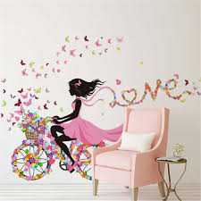 popular dream girl room buy cheap dream girl room lots from china personality fairies girl butterfly flowers art decal wall stickers for home decor diy mural kids room