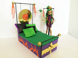 Monster High Doll House Furniture How To Make A Jinafire Long Doll Bed Tutorial Monster High Youtube