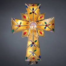 tree topper grand sales lighted amber capiz cross with multi gems