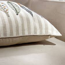 Dry Clean Sofa Cushions Pillow Cushion Embroidered Indian Feathers Cotton Linen Sofa