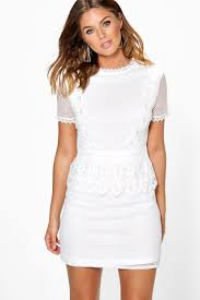 shift dress boutique cait crochet lace peplum shift dress boohoo