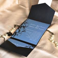 wedding invitations on a budget vintage dusty blue and black damask cheap pocket wedding