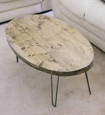 Oval Wood Coffee Tables Wood Coffee Table With Hairpin Legs Home Design And Decorating Ideas