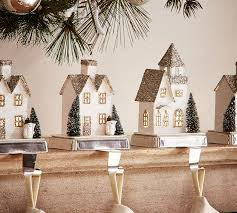 lit german glitter village houses stocking holders pottery barn