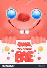 greeting card funny pink emoticon face stock vector 717496717