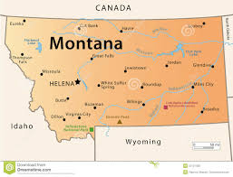 Billings Montana Map by Montana Map Stock Photo Image 30137590