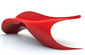 Red Modern Furniture by Flowing Shape Bench Seating Design Composite Material Bench